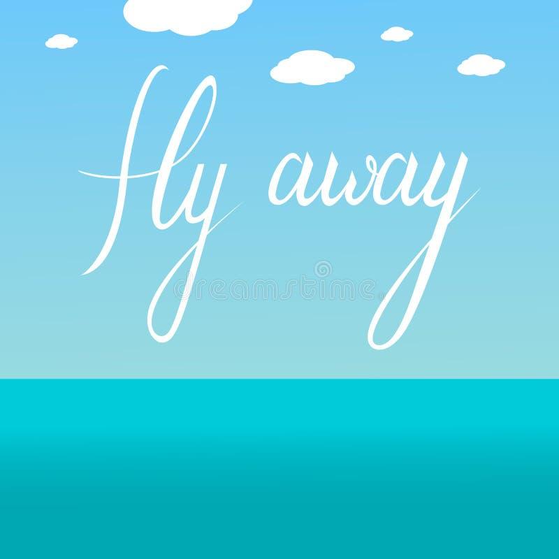 Wegtext der Fliege im Himmel stock abbildung