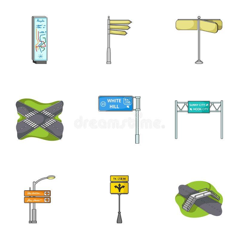 Wegverbindingen en tekens en ander Webpictogram in beeldverhaalstijl Gidsen en tekens van verkeerspictogrammen in vastgestelde in vector illustratie