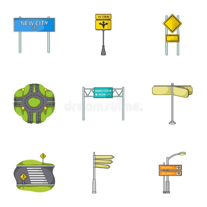 Wegverbindingen en tekens en ander Webpictogram in beeldverhaalstijl Gidsen en tekens van verkeerspictogrammen in vastgestelde in royalty-vrije illustratie