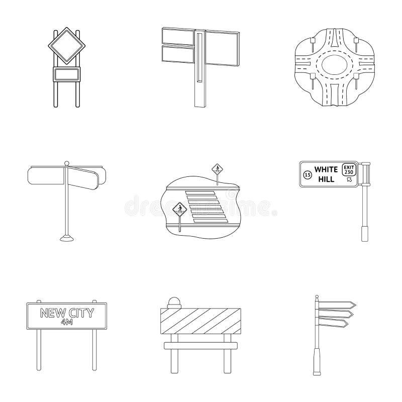 Wegverbindingen en tekens en ander Webpictogram in overzichtsstijl Gidsen en tekens van verkeerspictogrammen in vastgestelde inza vector illustratie