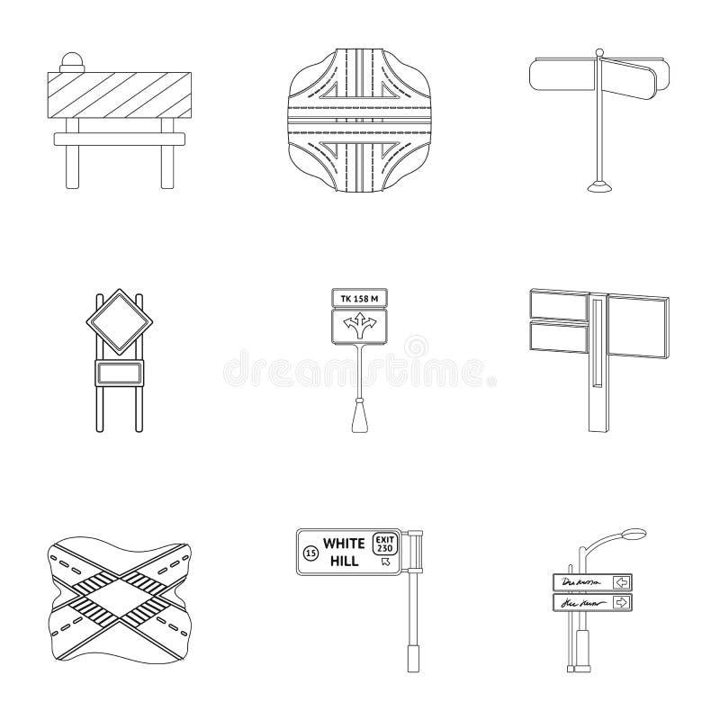 Wegverbindingen en tekens en ander Webpictogram in overzichtsstijl Gidsen en tekens van verkeerspictogrammen in vastgestelde inza royalty-vrije illustratie
