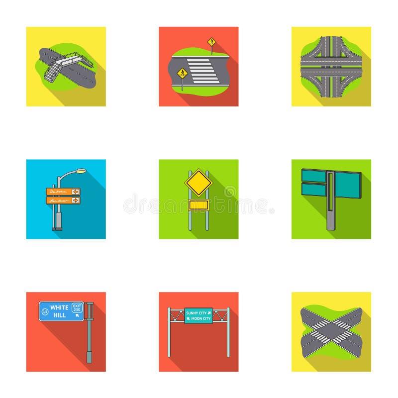 Wegverbindingen en tekens en ander Webpictogram in vlakke stijl Gidsen en tekens van verkeerspictogrammen in vastgestelde inzamel royalty-vrije illustratie