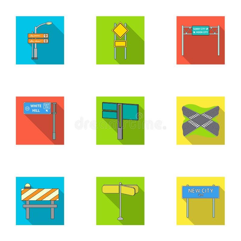 Wegverbindingen en tekens en ander Webpictogram in vlakke stijl Gidsen en tekens van verkeerspictogrammen in vastgestelde inzamel vector illustratie