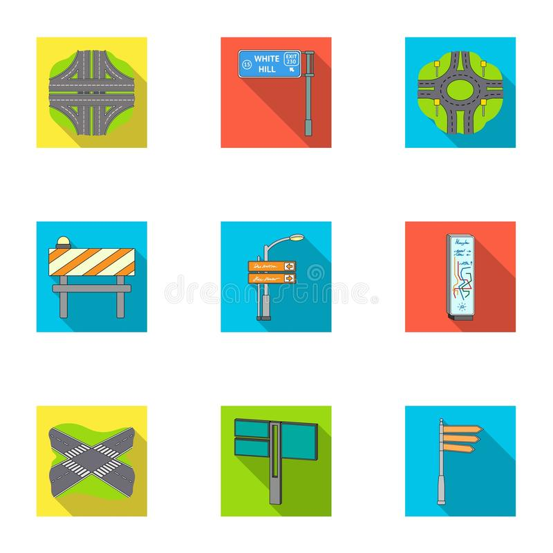Wegverbindingen en tekens en ander Webpictogram in vlakke stijl Gidsen en tekens van verkeerspictogrammen in vastgestelde inzamel stock illustratie