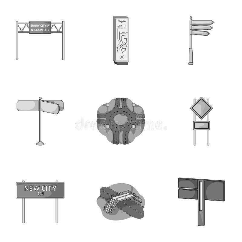 Wegverbindingen en tekens en ander Webpictogram in zwart-wit stijl Gidsen en tekens van verkeerspictogrammen in vastgestelde inza royalty-vrije illustratie