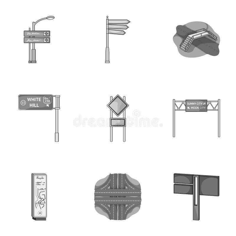 Wegverbindingen en tekens en ander Webpictogram in zwart-wit stijl Gidsen en tekens van verkeerspictogrammen in vastgestelde inza vector illustratie