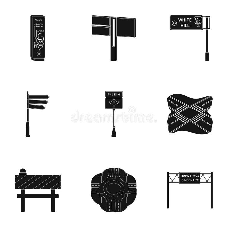 Wegverbindingen en tekens en ander Webpictogram in zwarte stijl Gidsen en tekens van verkeerspictogrammen in vastgestelde inzamel royalty-vrije illustratie