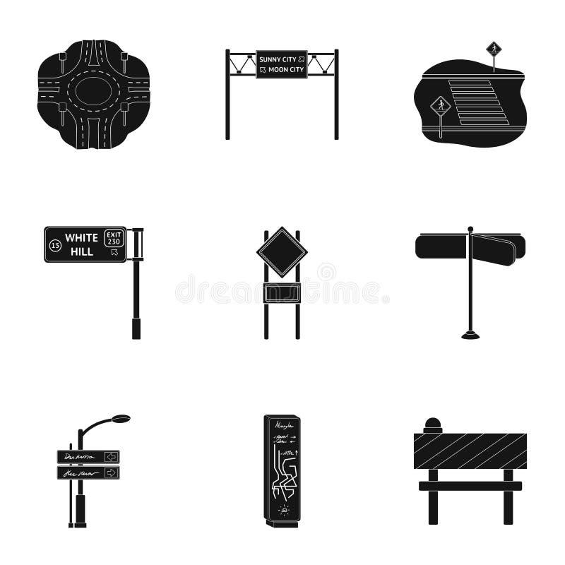 Wegverbindingen en tekens en ander Webpictogram in zwarte stijl Gidsen en tekens van verkeerspictogrammen in vastgestelde inzamel vector illustratie
