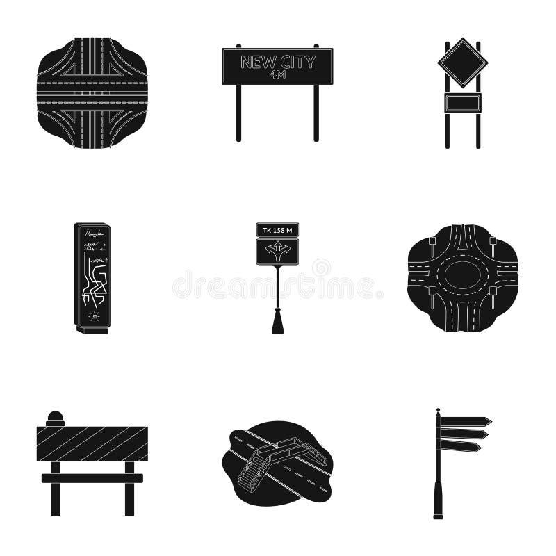 Wegverbindingen en tekens en ander Webpictogram in zwarte stijl Gidsen en tekens van verkeerspictogrammen in vastgestelde inzamel stock illustratie