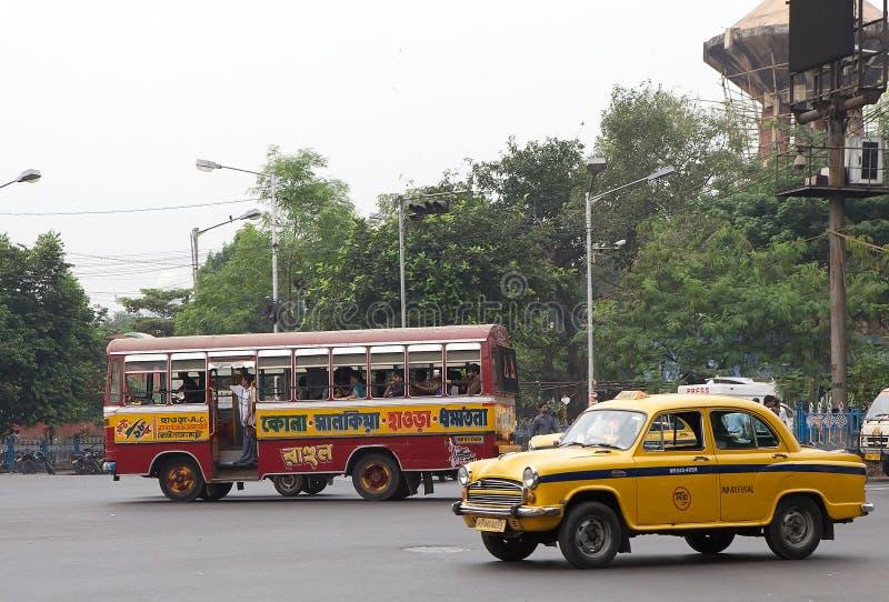 Wegvervoer in Kolkata, India stock afbeelding