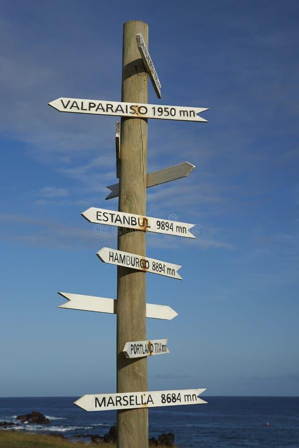 Wegweiser auf Osterinsel, Chile lizenzfreie stockfotografie