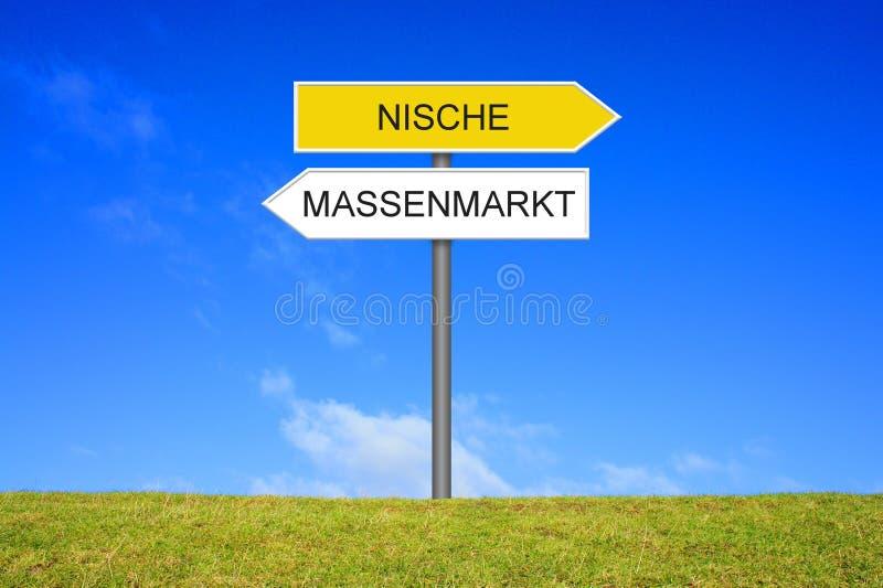 Wegweiser, der Nische oder allgemeinen Marktdeutschen zeigt lizenzfreie stockfotografie