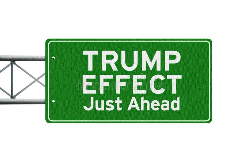 Wegweiser mit Text des Trumpf-Effektes lizenzfreies stockfoto