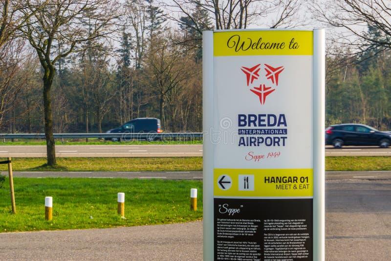 Wegweiser von Luftfahrt seppe Breda, Flughafen, Bosschenhoofd, die Niederlande, am 30. März 2019 stockfotos