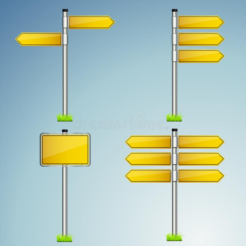 Wegweisersammlungs-Vektorsatz lokalisiert mit glattem metallischem Hintergrund lizenzfreie abbildung