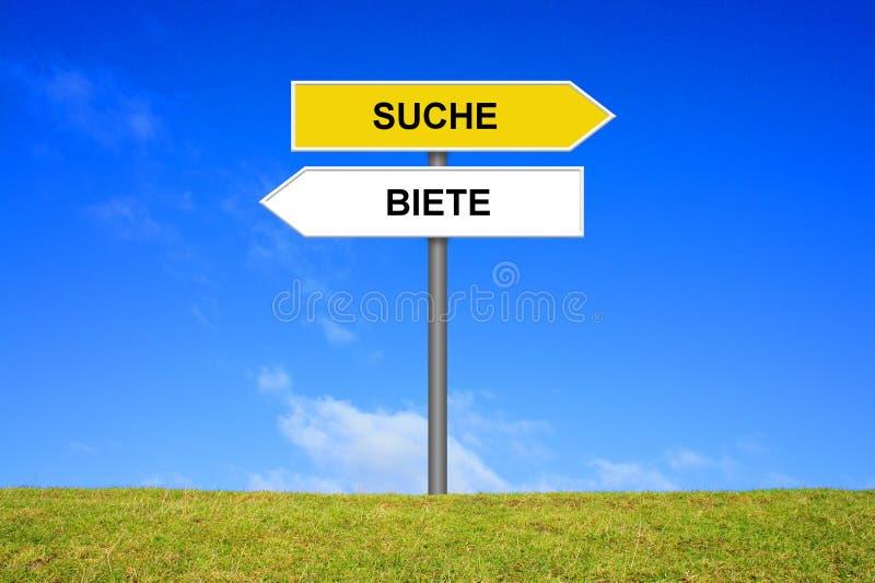 Wegweiservertretung Such- und Angebotdeutscher stockbild
