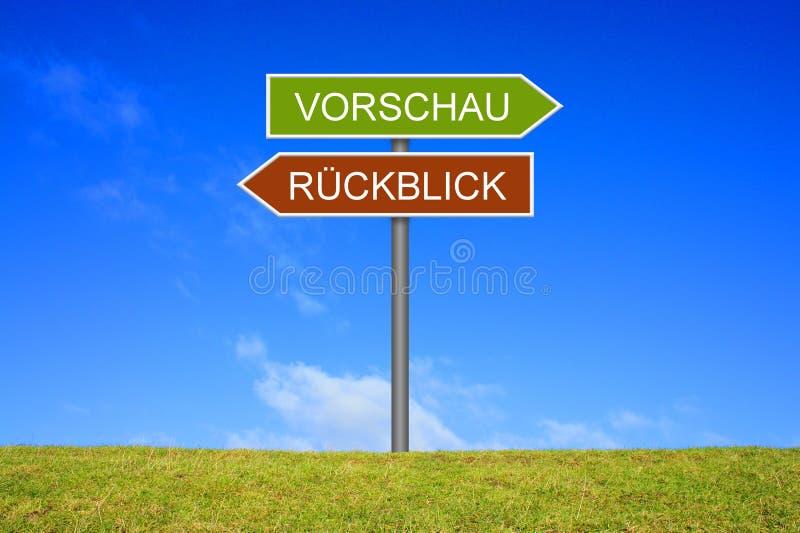 Wegweiservertretung Vorschau und Berichtdeutscher lizenzfreies stockfoto