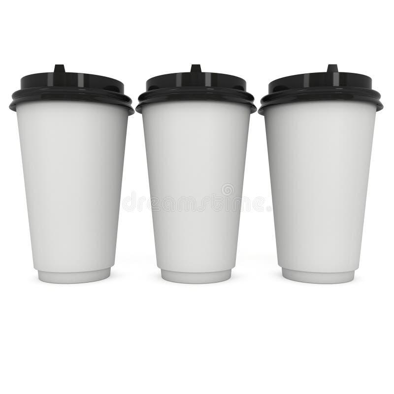 Wegwerfbare Kaffeetassen Becher des leeren Papiers lizenzfreie abbildung