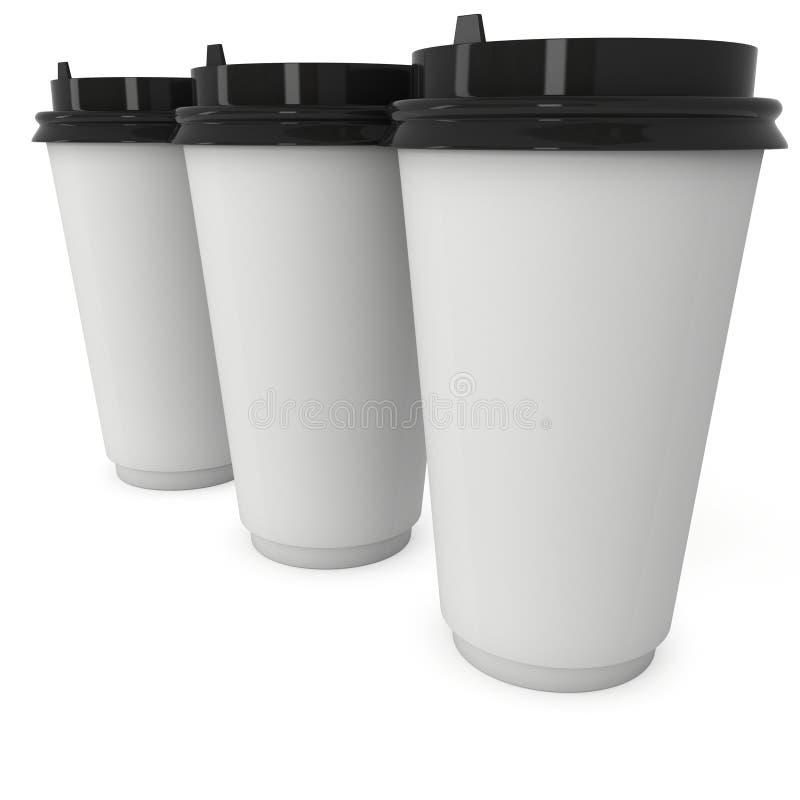 Wegwerfbare Kaffeetassen Becher des leeren Papiers vektor abbildung
