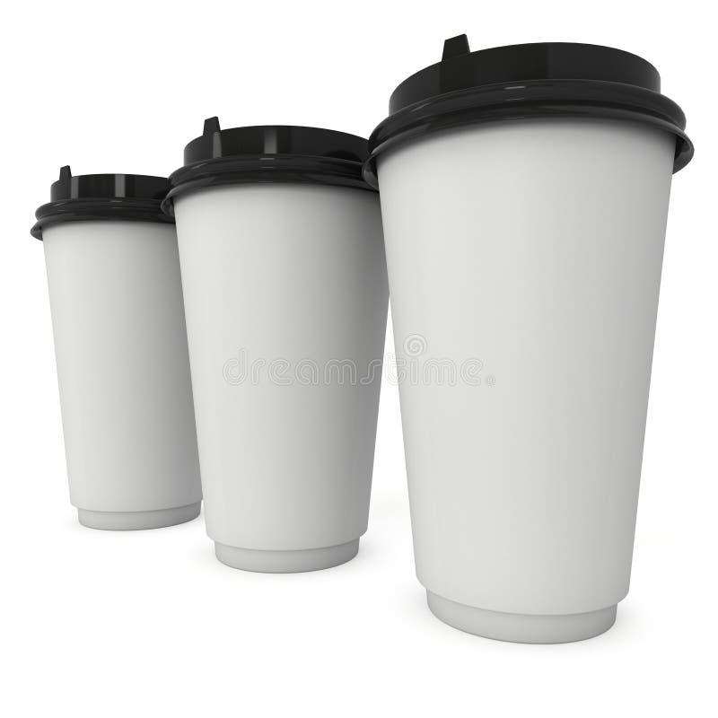 Wegwerfbare Kaffeetassen Becher des leeren Papiers stock abbildung