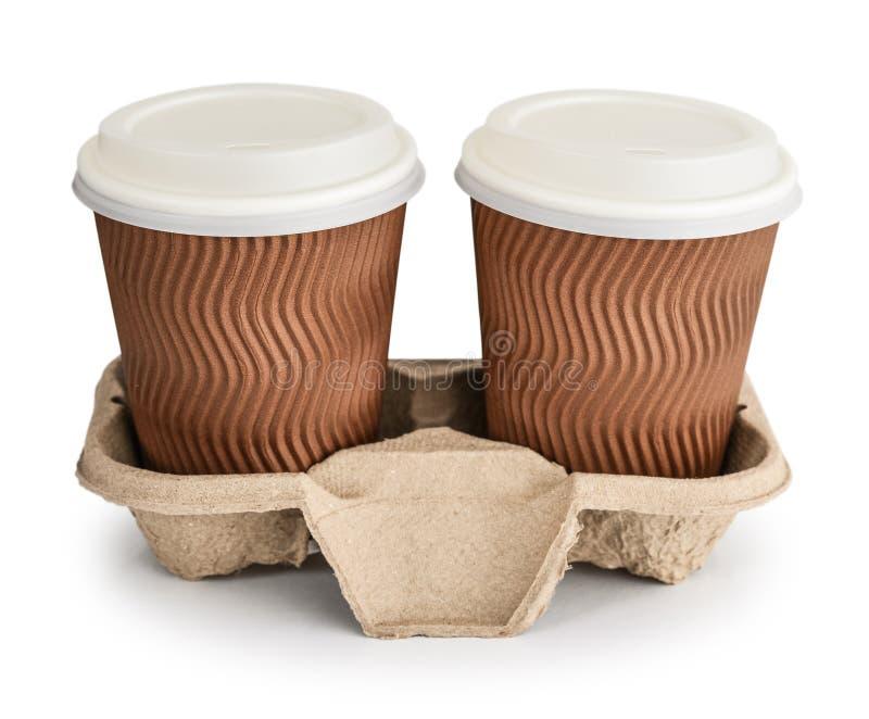 Wegwerfmitnehmerkaffeetasse des freien Raumes stockbild