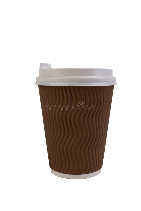 Wegwerfpapiertasse kaffee lokalisiert auf wei?em Hintergrund mit Beschneidungspfad lizenzfreie stockfotografie