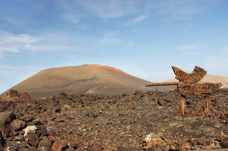 Wegwijzer aan het vulkanische park van Timanfaya, Lanzarote stock afbeelding