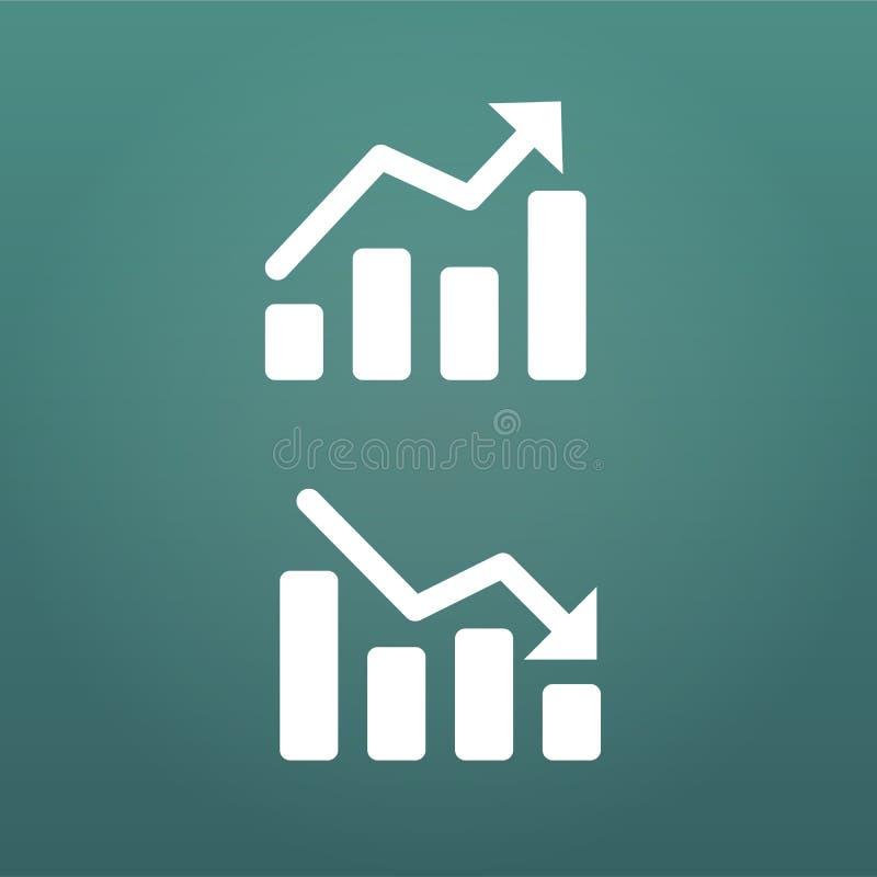 Weiß auf und ab die Diagramm-Ikone in der modischen flachen Art lokalisiert auf modernem Hintergrund Diagrammsymbol für Ihr Websi lizenzfreie abbildung