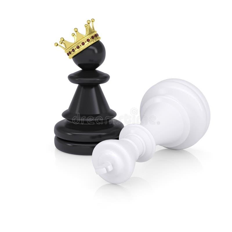 Weiß besiegter Schachkönig ist nahe schwarzen Pfand lizenzfreie abbildung