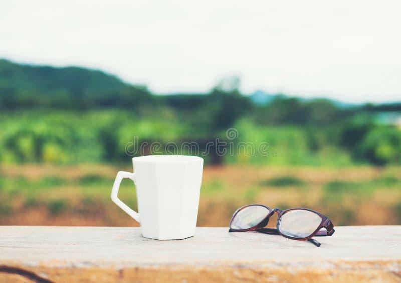 Weiß der heißen Kaffeetasse mit Gläsern auf der Bank mit grünem nationalem stockfoto