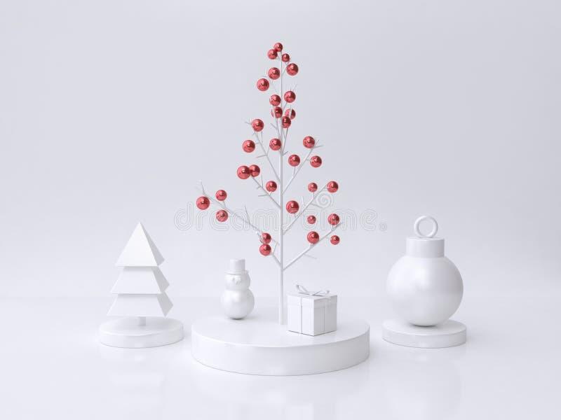 Weiß der minimalen Art und des roten metallischen Balls 3d des Weihnachtsbaum-Ballgeschenkboxschnee-Mannes übertragen vektor abbildung