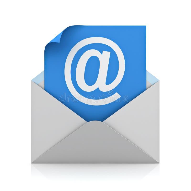 Weiß an der Zeichenpost auf blauem Papier im Umschlag E-Mail-Konzept vektor abbildung