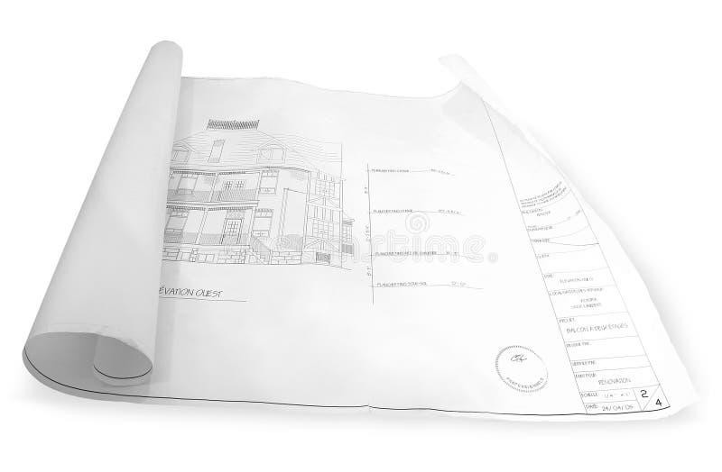 Weiß des Architekturplanes einer stockfoto