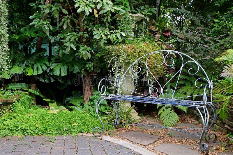 Weiß färbte Schmiedeeisenbank im Garten mit tropischen Anlagen lizenzfreies stockbild