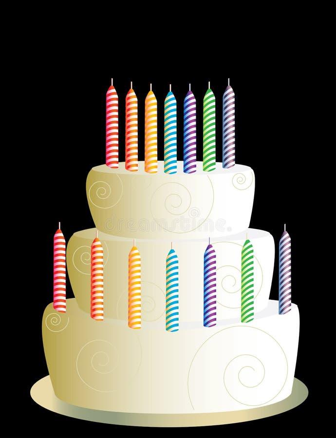 Weiß Geburtstagkuchen mit drei Schichten lizenzfreie abbildung