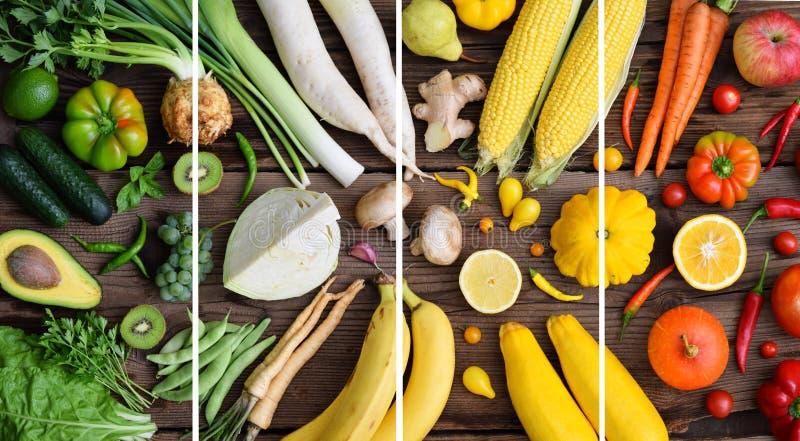 Weiß, grün, gelb, Orange, rote Obst und Gemüse auf hölzernem Hintergrund Gesunde Nahrung Mehrfarbige rohe Nahrung lizenzfreie stockfotografie