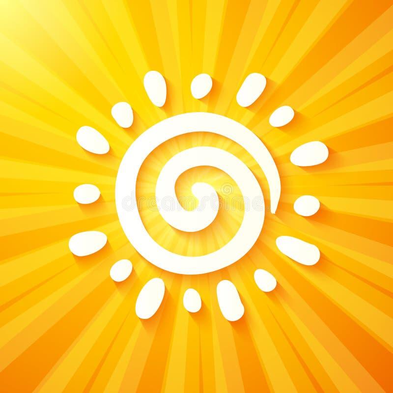 Weiß herausgeschnittene Papiersonne auf gelbem Hintergrund lizenzfreie abbildung