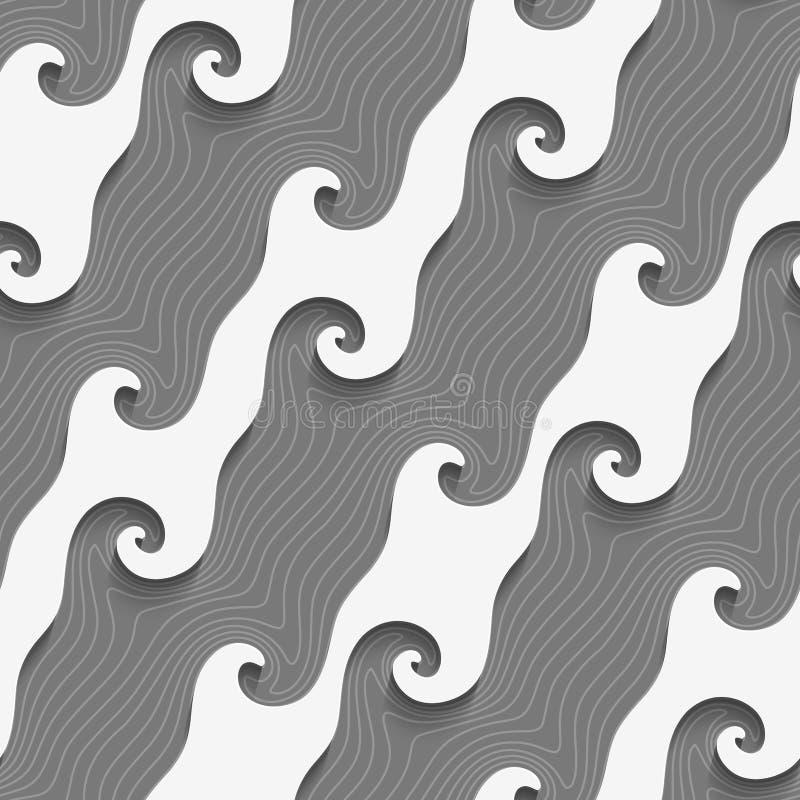 Weiß kurvte diagonale Linien auf strukturiertem grauem nahtlosem Muster stock abbildung