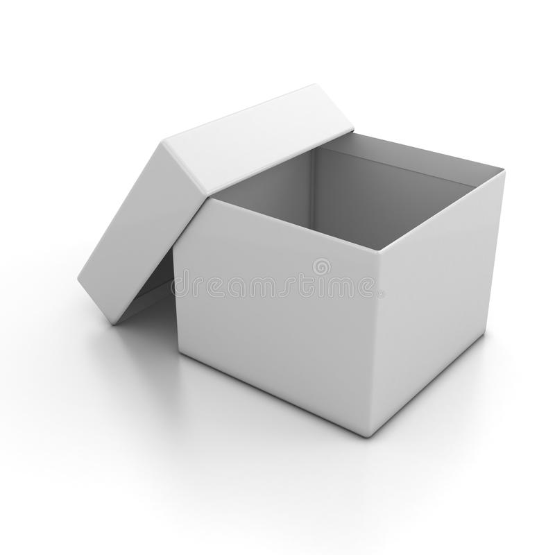 Weiß leeren Sie geöffneten Kasten vektor abbildung