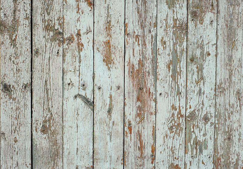 Weiß malte hölzernen Zaun mit gebrochenem und Kratzer Horizontale Schmutzbeschaffenheit lizenzfreies stockfoto