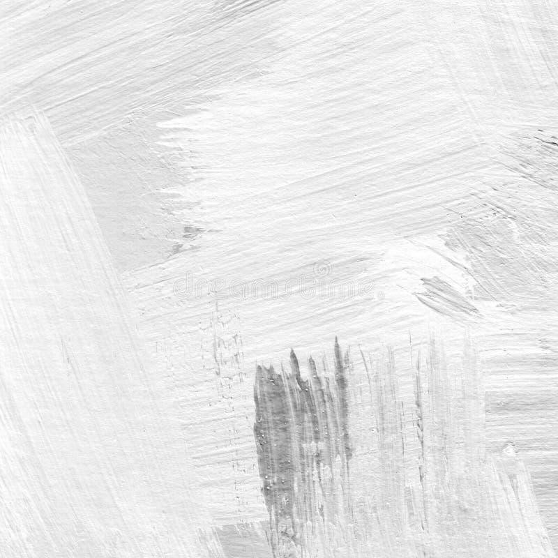 Weiß malte strukturierten abstrakten Hintergrund mit Bürstenanschlägen in den grauen und schwarzen Schatten vektor abbildung
