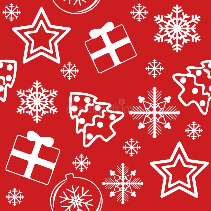 Weiß Muster des neuen Jahres auf Rot lizenzfreies stockfoto