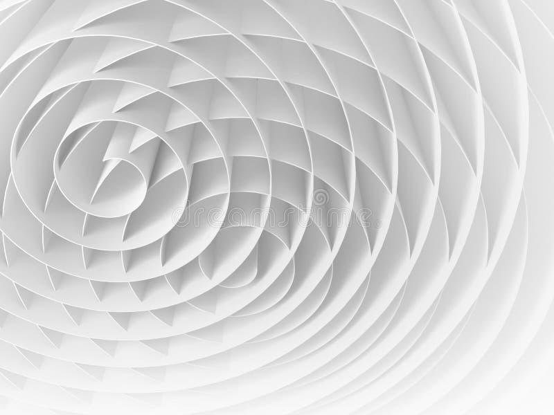 Weiß schnitt 3d Spiralen, digitale Illustration der Zusammenfassung stock abbildung