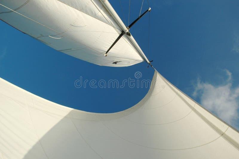 Weiß segelt frow unten lizenzfreie stockfotografie
