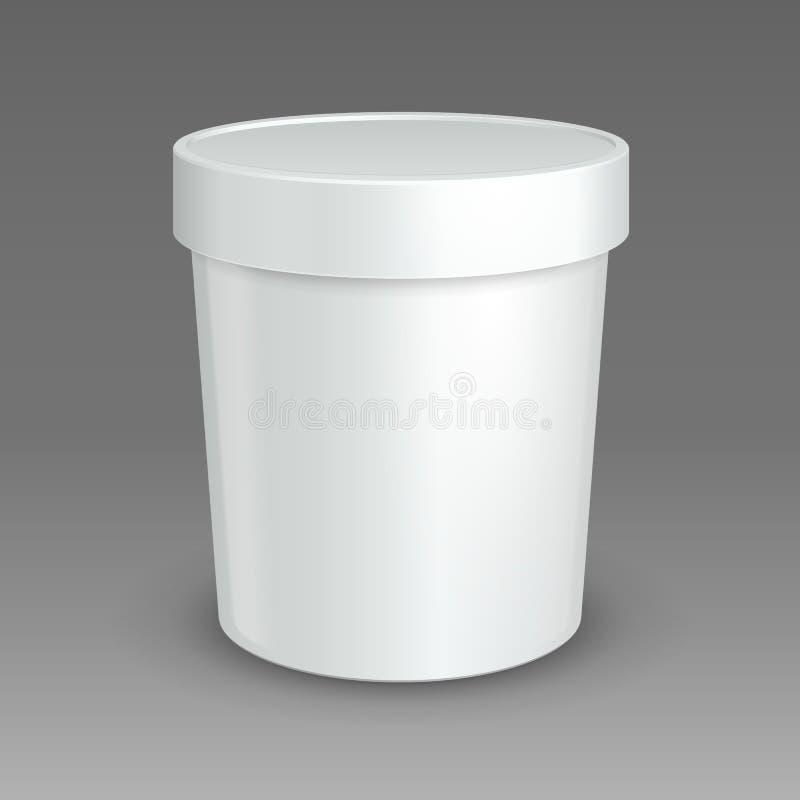 Weiß-Spott herauf Eimer-Wannen-Lebensmittel-Plastikbehälter zum Nachtisch, Jogurt, Eiscreme, Sauerrahm oder Snack Vektor eps10 vektor abbildung