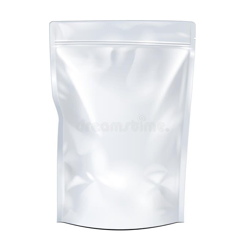 Weiß-Spott herauf leeres Folien-Lebensmittel oder Getränk Doypack-Taschen-Verpackung stock abbildung