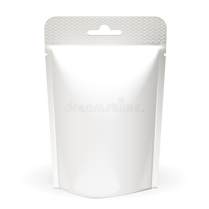 Weiß-Spott herauf leeres Folien-Lebensmittel oder Getränk Doypack-Taschen-Verpackung Plastiksatz-Schablone auf dem weißen Hinterg vektor abbildung