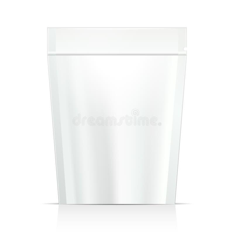 Weiß-Spott herauf leeres Folien-Lebensmittel oder Getränk Doypack-Taschen-Verpackung Plastiksatz-Schablone bereit zu Ihrem Design lizenzfreie abbildung