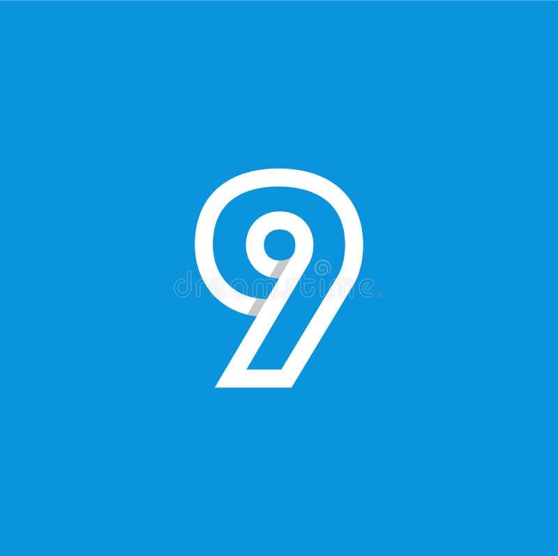 Weiß Vektor-Logo Numbers 9 stock abbildung
