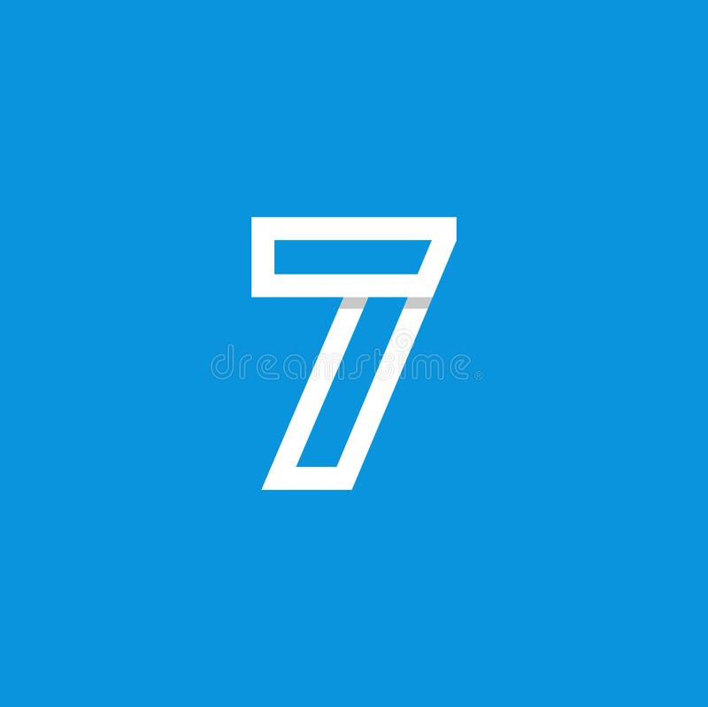 Weiß Vektor-Logo Numbers 7 lizenzfreie abbildung